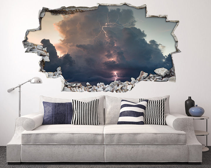 Stormy Sky Lightning Living Room Decal Vinyl Wall Sticker H932