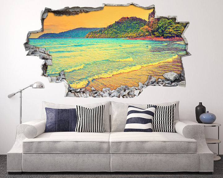 Sea Waves Coast Living Room Decal Vinyl Wall Sticker H940