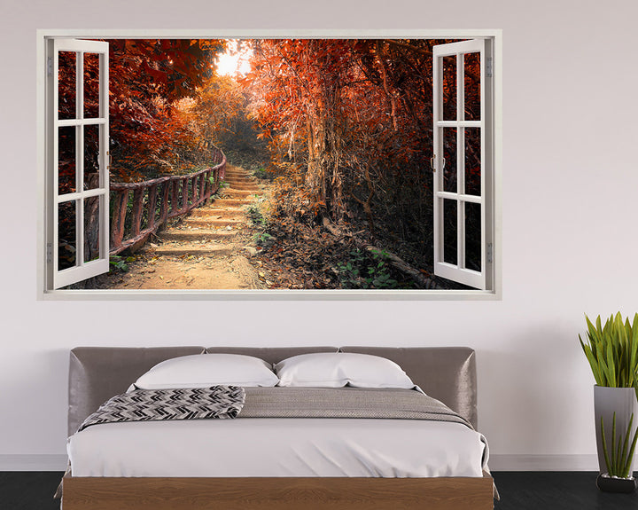 Brown Autumn Tree Forest Bedroom Decal Vinyl Wall Sticker H943w