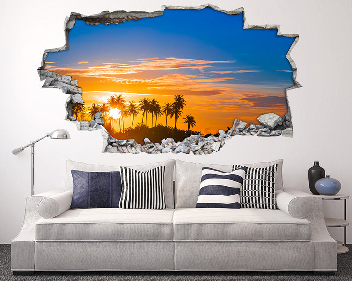 Palm Trees Sunset Living Room Decal Vinyl Wall Sticker H945