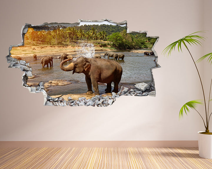 Elephant Water Pool Bath Hall Decal Vinyl Wall Sticker H947