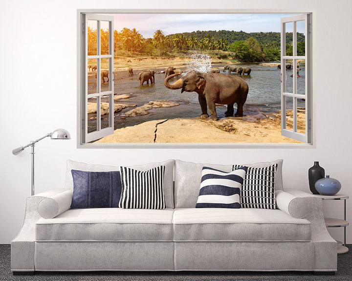 Elephant Water Pool Bath Living Room Decal Vinyl Wall Sticker H947w