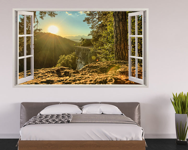 Mountain Forest Sun Bedroom Decal Vinyl Wall Sticker H949w