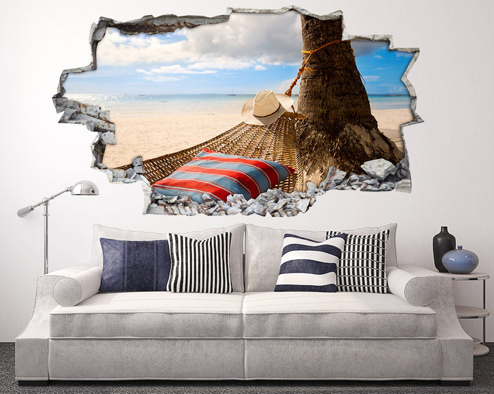 Beach Hammock Bed Living Room Decal Vinyl Wall Sticker H950