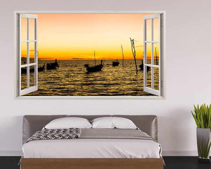 Yellow Sky Boats Bedroom Decal Vinyl Wall Sticker H953w