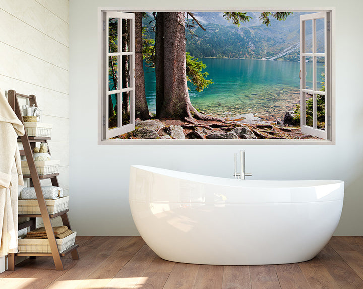 Mountain Lake Trees Bathroom Decal Vinyl Wall Sticker H956w