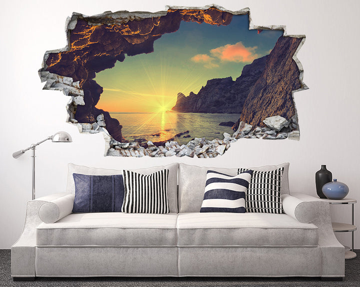 Scenic Cliff Cave Living Room Decal Vinyl Wall Sticker H957