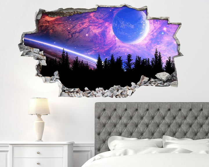 Pink Planet Nebula Bedroom Decal Vinyl Wall Sticker I014
