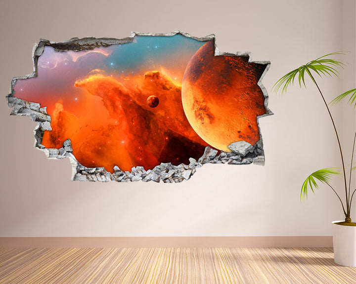 Orange Planet Space Living Room Decal Vinyl Wall Sticker I018