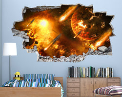 Space Planets Fireballs Boys Bedroom Decal Vinyl Wall Sticker I019