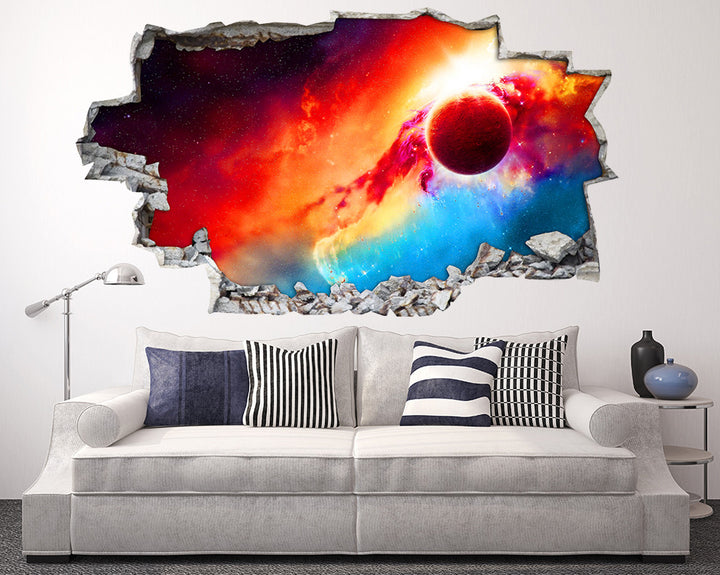 Colourful Sky Planet Living Room Decal Vinyl Wall Sticker I020
