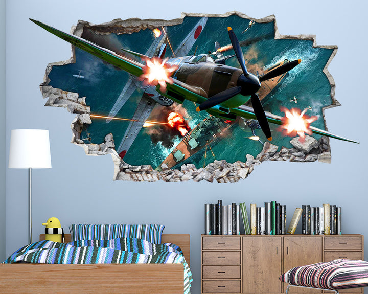 Spitfire Guns Explosion Boys Bedroom Decal Vinyl Wall Sticker I038