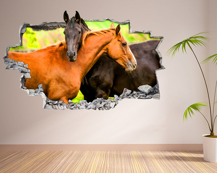 Brown Horse Hug Living Room Decal Vinyl Wall Sticker I044