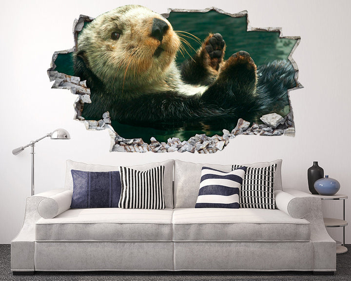 Cute Baby Otter Living Room Decal Vinyl Wall Sticker I045