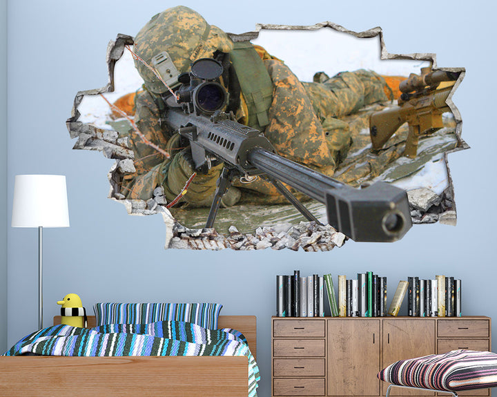 Soldier Rifle Gun Boys Bedroom Decal Vinyl Wall Sticker I054