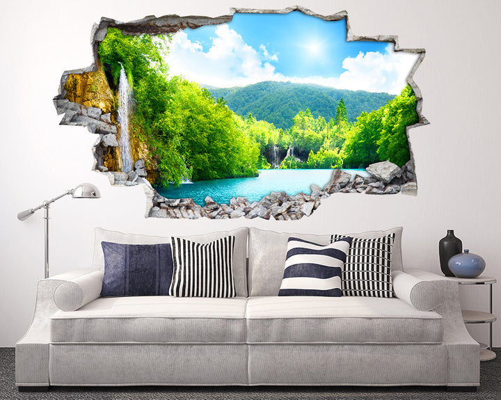 Forest Cliff River Living Room Decal Vinyl Wall Sticker I061