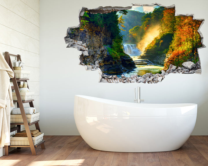 Forest Waterfall Autumn Bathroom Decal Vinyl Wall Sticker I063