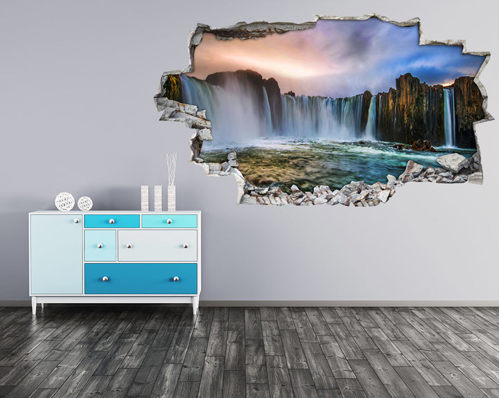 Scenic Waterfall Cliff Hall Decal Vinyl Wall Sticker I064