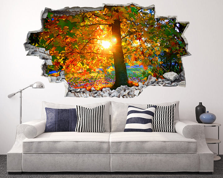Colourful Tree Sun Living Room Decal Vinyl Wall Sticker I068