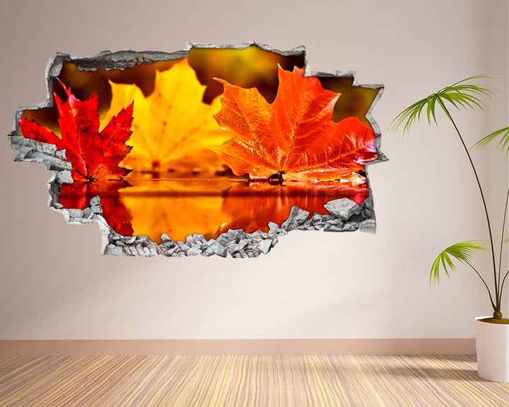 Autumn Leaves Puddle Hall Decal Vinyl Wall Sticker I069
