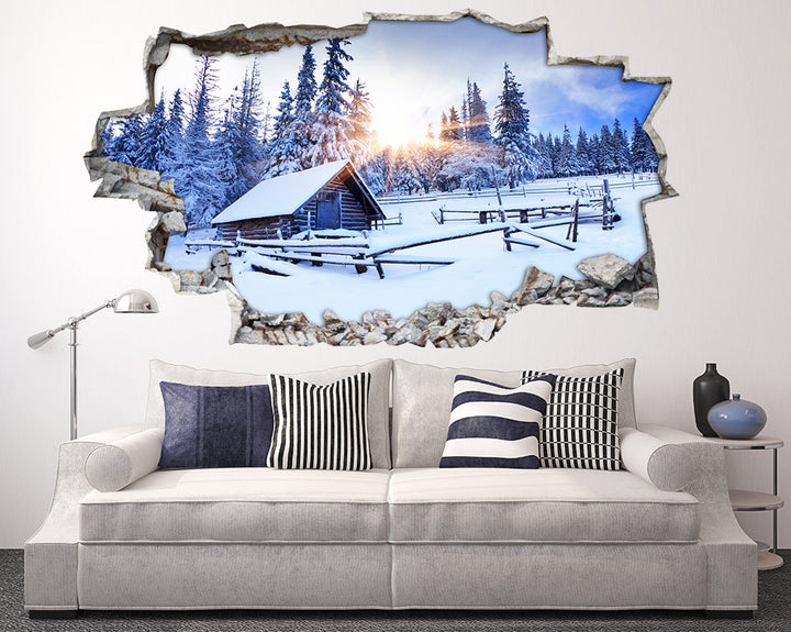 Winter Snow Chalet Living Room Decal Vinyl Wall Sticker I072