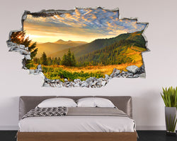 Sunny Mountain Forest Bedroom Decal Vinyl Wall Sticker I081