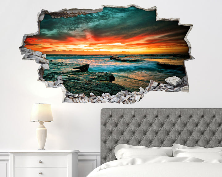 Cool Sea Waves Sky Bedroom Decal Vinyl Wall Sticker I082