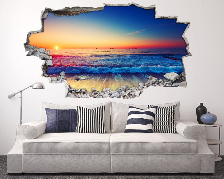 Sea Waves Sunset Living Room Decal Vinyl Wall Sticker I084