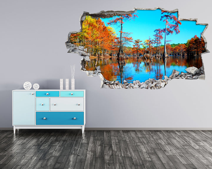Tree Lake Autumn Hall Decal Vinyl Wall Sticker I085