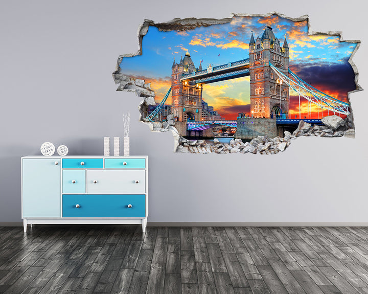 London Bridge Sunset Hall Decal Vinyl Wall Sticker I090