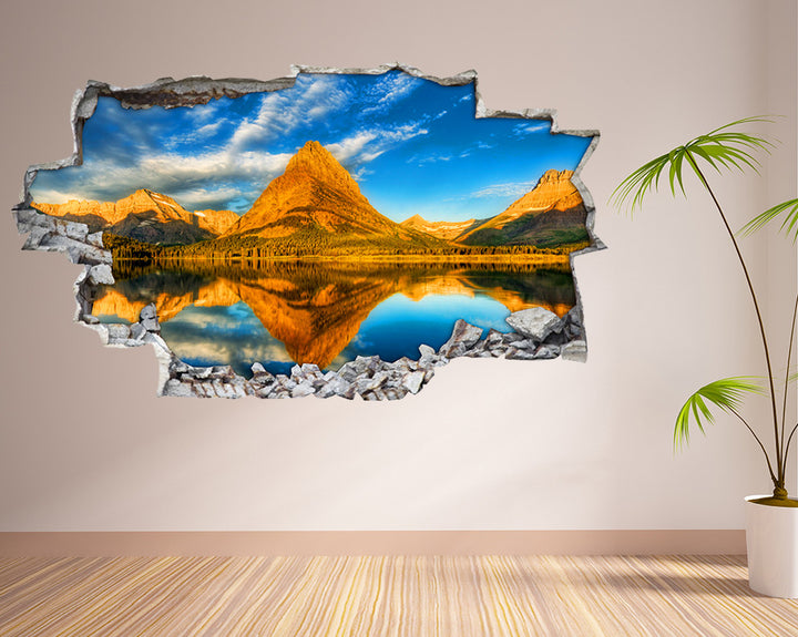 Mountain Lake Reflection Living Room Decal Vinyl Wall Sticker I096