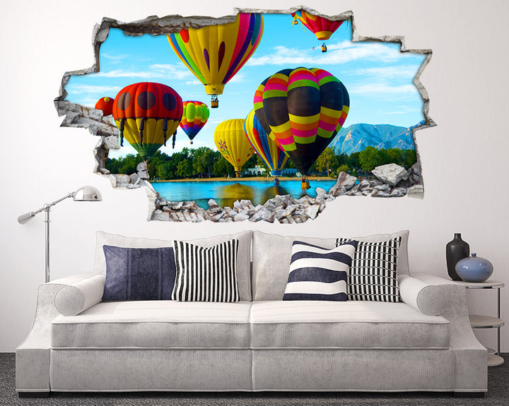Scenic Hot Air Balloons Living Room Decal Vinyl Wall Sticker I109