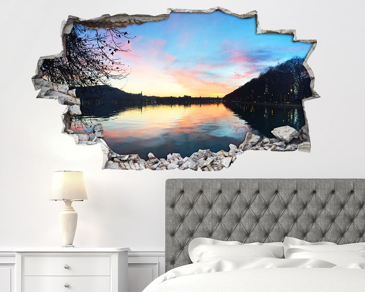 River Silhouette Bedroom Decal Vinyl Wall Sticker I112