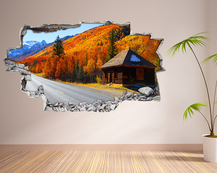 Scenic Autumn Chalet Living Room Decal Vinyl Wall Sticker I119
