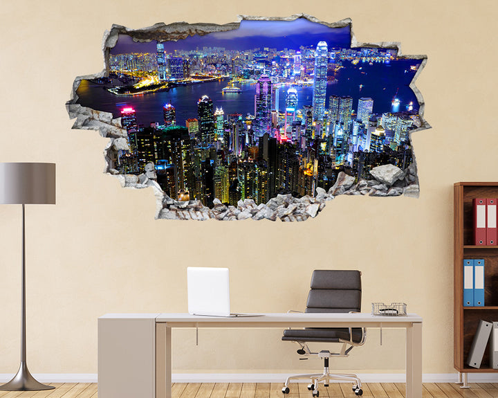 Skyscrapers City Lights Office Decal Vinyl Wall Sticker I125