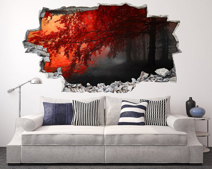 Red Tree Leaves Forest Living Room Decal Vinyl Wall Sticker I132