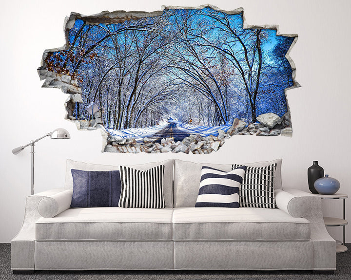 Snow Road Trees Living Room Decal Vinyl Wall Sticker I140