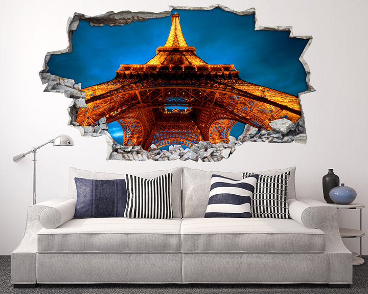 Eiffel Tower Paris View Living Room Decal Vinyl Wall Sticker I142