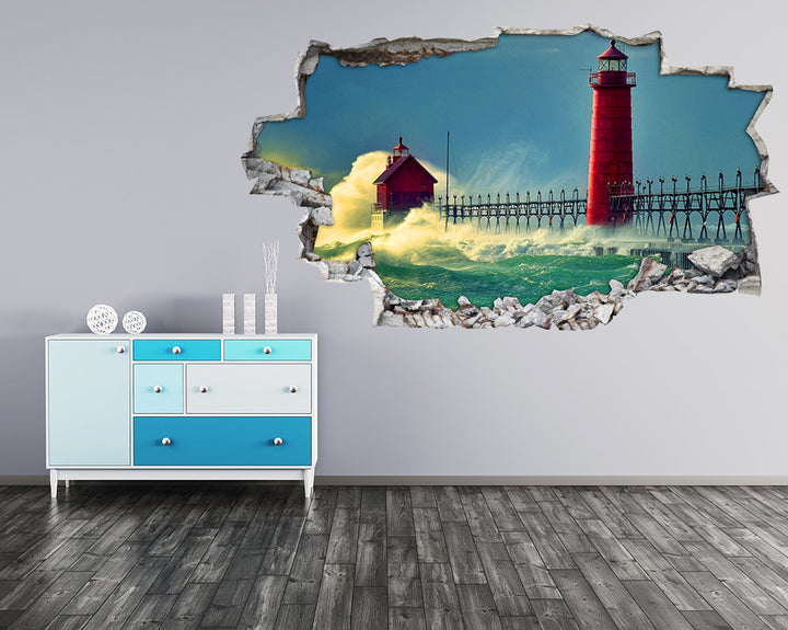 Red Lighthouse Waves Hall Decal Vinyl Wall Sticker I144