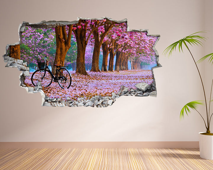 Pink Blossom Bicycle Living Room Decal Vinyl Wall Sticker I150