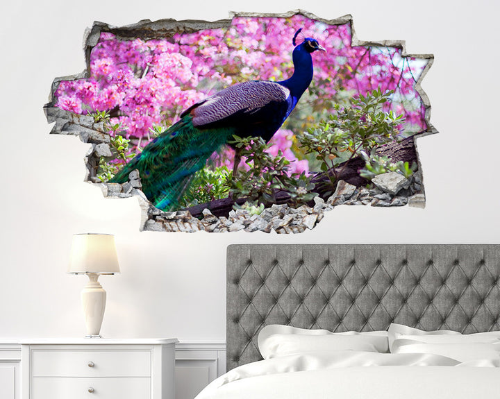 Peacock Bird Blossom Bedroom Decal Vinyl Wall Sticker I152