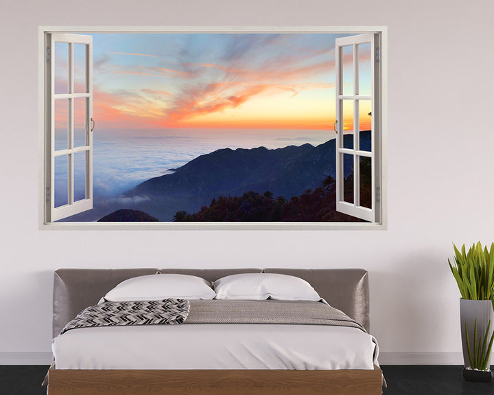Mountain Cloud Sunrise Bedroom Decal Vinyl Wall Sticker I157