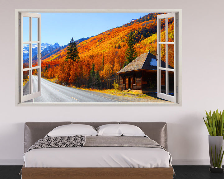 Autumn Trees Chalet Bedroom Decal Vinyl Wall Sticker I163
