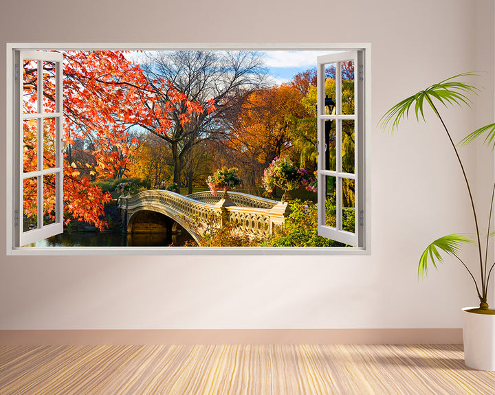 Autumn Park Bridge Living Room Decal Vinyl Wall Sticker I166