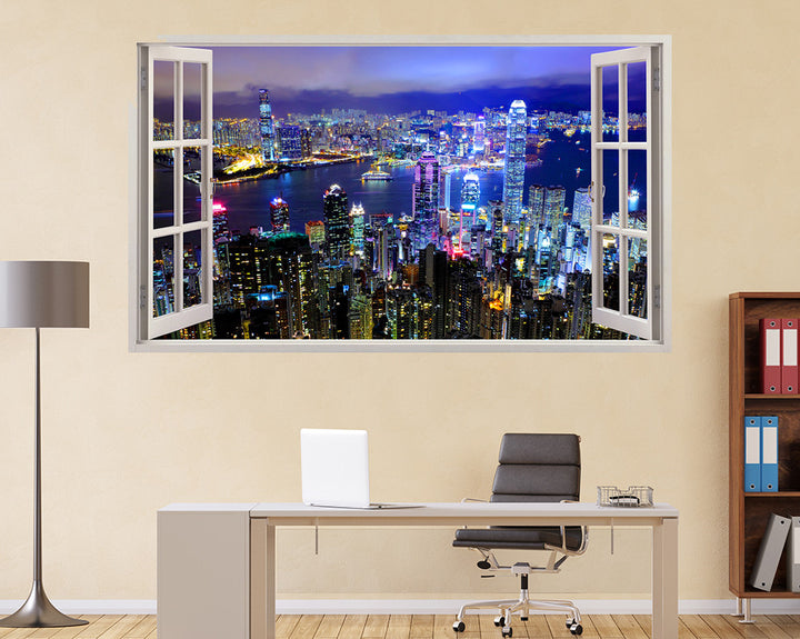 Skyscrapers City Lights Office Decal Vinyl Wall Sticker I169