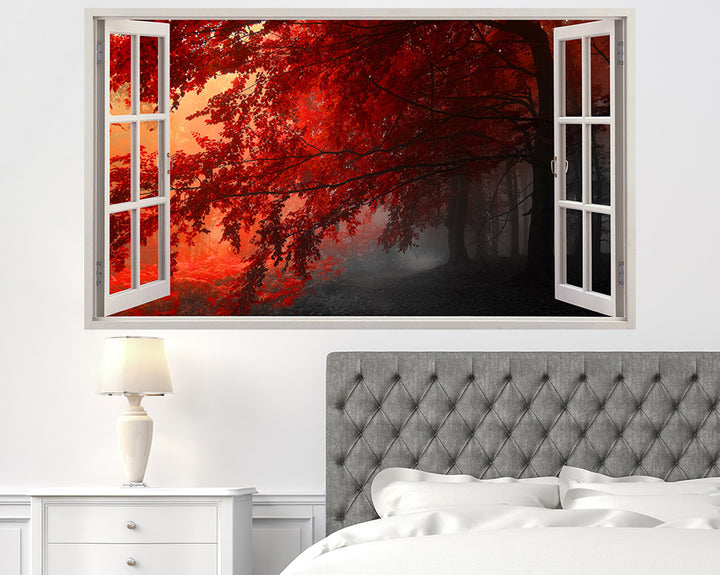 Red Tree Leaves Forest Bedroom Decal Vinyl Wall Sticker I176
