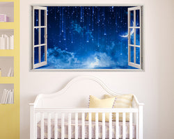 Night Time Moon Stars Nursery Decal Vinyl Wall Sticker I182