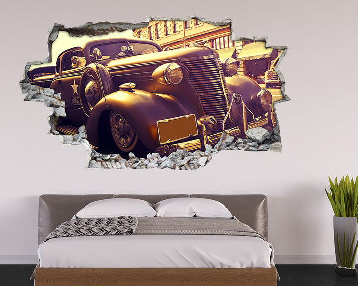 Black Vintage Car Bedroom Decal Vinyl Wall Sticker I212