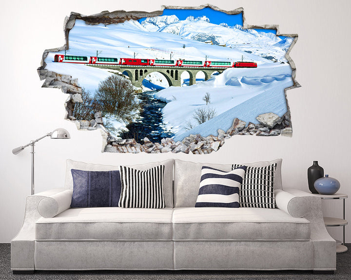 Snow Train Bridge Living Room Decal Vinyl Wall Sticker I222