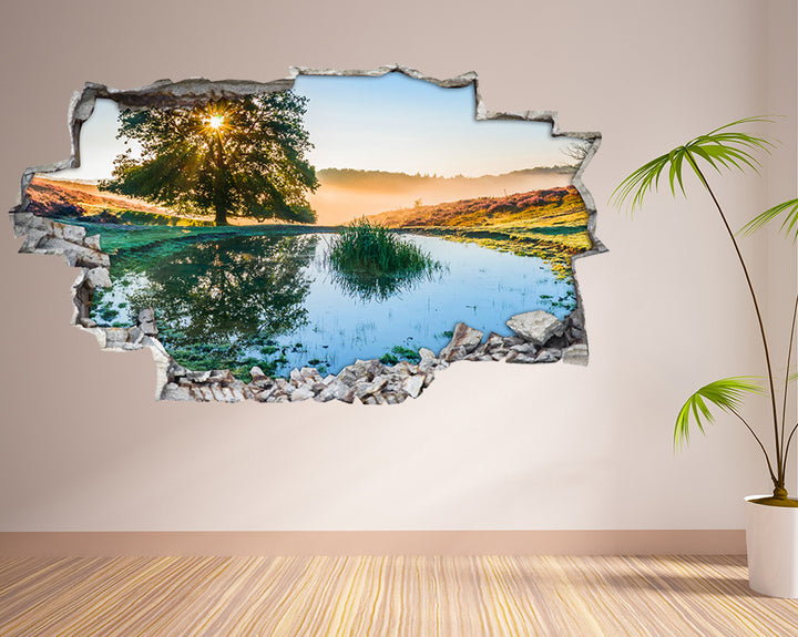 Nature Scenic Pond Hall Decal Vinyl Wall Sticker I226